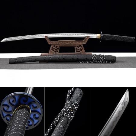 Handmade High Manganese Steel Real Black Katana Samurai Swords With Leather Saya