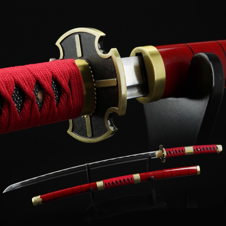 One Piece  Roronoa Zoro Sandai Kitetsu Katana Samurai Sword Replica With Red Scabbard
