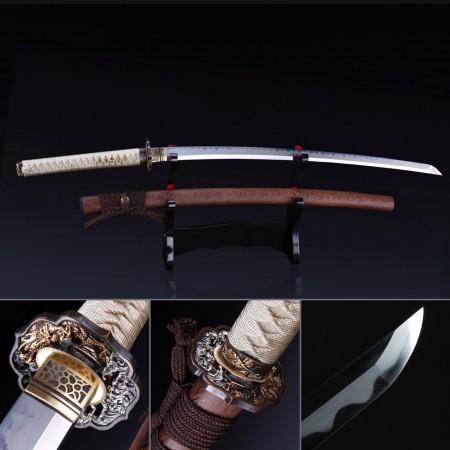 Japanese Katana, Handmade Katana Sword T10 Folded Clay Tempered Steel With Brown Scabbard