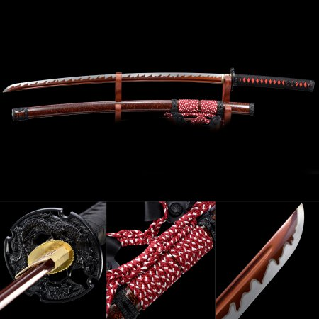 Black And Red Katana, Japanese Samurai Sword High Manganese Steel With Red Blade And Scabbard