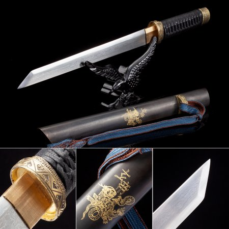 Handmade High Manganese Steel Sharpening Real Japanese Hamidashi Tanto Sword With Brown Scabbard