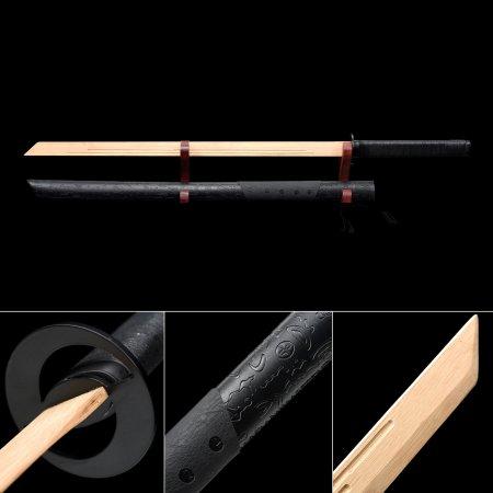Handmade Natural Wooden Straight Blunt Unsharpened Blade Ninjato Ninja Swords With Black Scabbard