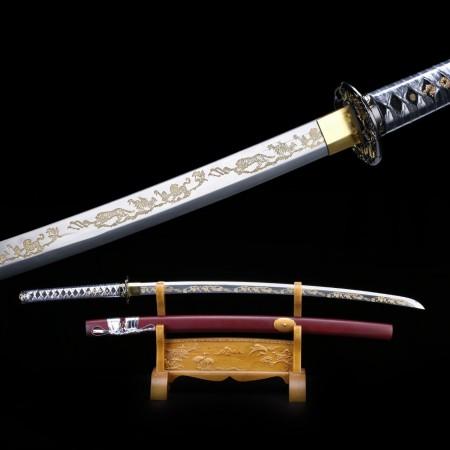 Samurai Swords, Handmade 1060 Carbon Steel Laser Engraving Blade Japanese Katana