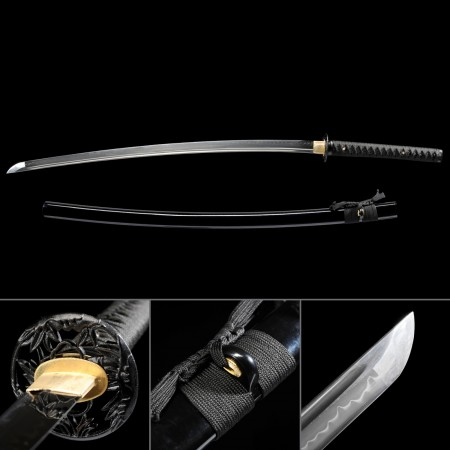 Black Samurai Theme Hand Forged Real Hamon Japanese Samurai Katana Swords