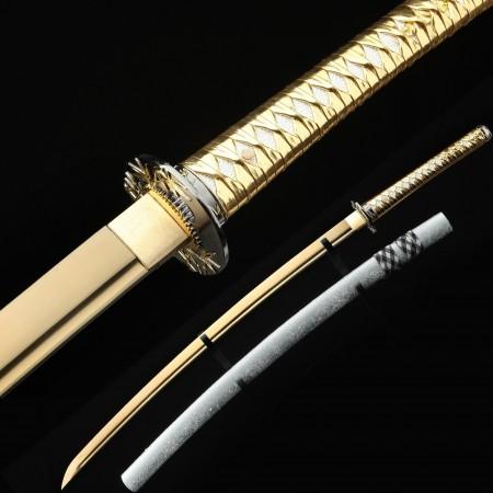Golden Blade Katana, Handmade Full Tang Real Japanese Katana Swords With Bamboo Style Tsuba