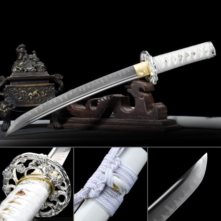 Handmade T10 Carbon Steel Real Hamon Japanese Tanto Sword With White Scabbard