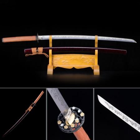 Handmade High Manganese Steel Flower Blade And Tsuba Theme Real Japanese Katana Samurai Swords