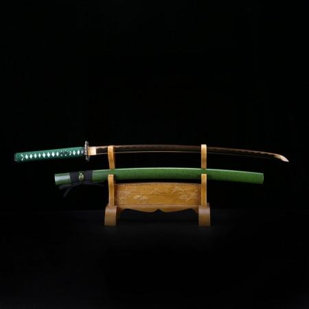 Green Katana, Handmade Japanese Katana 1045 Carbon Steel With Rose Gold Printed Blade