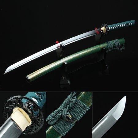 Handmade High Manganese Steel Japanese Samurai Katana Sword With Green Scabbard And Iron Tsuba
