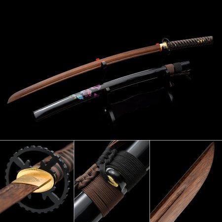 Handmade Brown Wooden Blunt Unsharpened Blade Katana Sword With Black Scabbard And Iron Tsuba