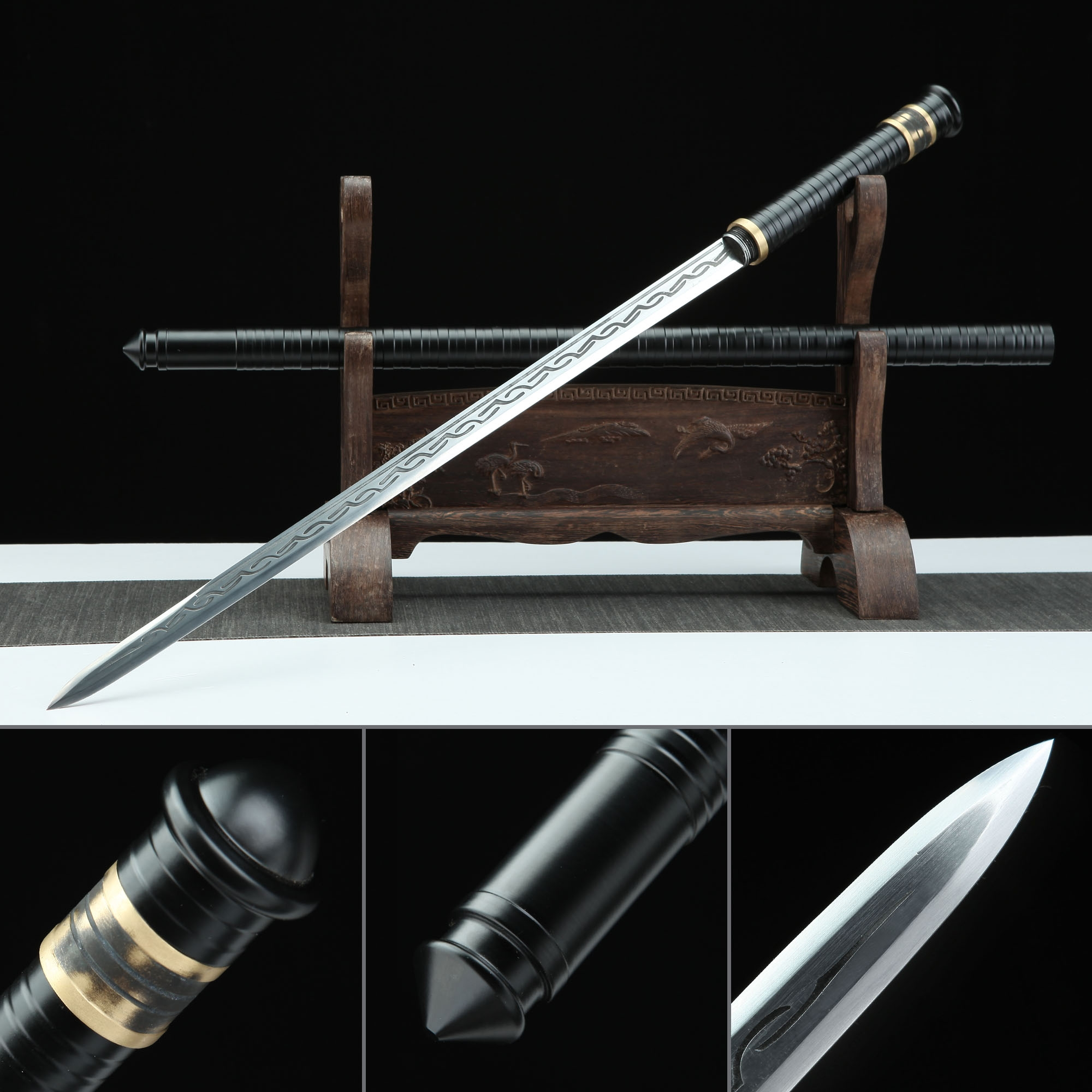 Handmade Spring Steel Black Fully Metal Spear No Guard Ninjato Ninja Swords Extend To 53 Inches