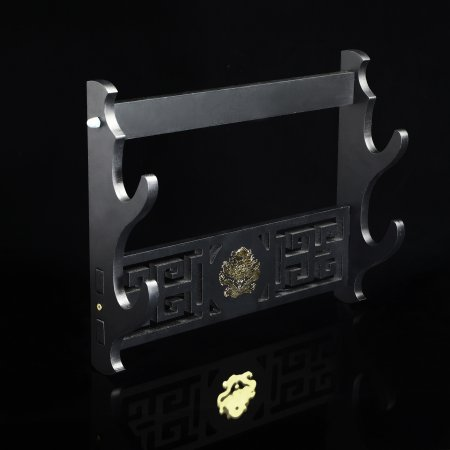 2 Tiers Katana Sword Stand Wall Mount 2-layer Stand Hanger Bracket Holder Rack Black Lacquered Wood