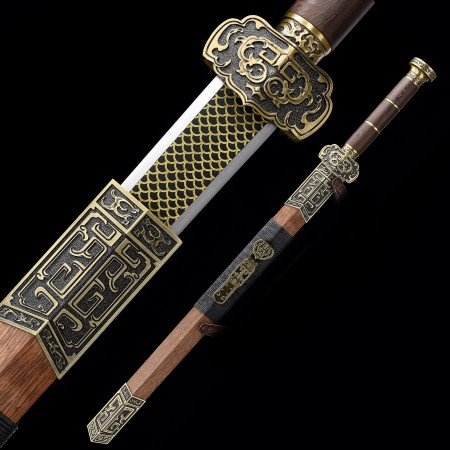 Handmade High Manganese Steel Chinese Han Dynasty Sword With Wenge Scabbard
