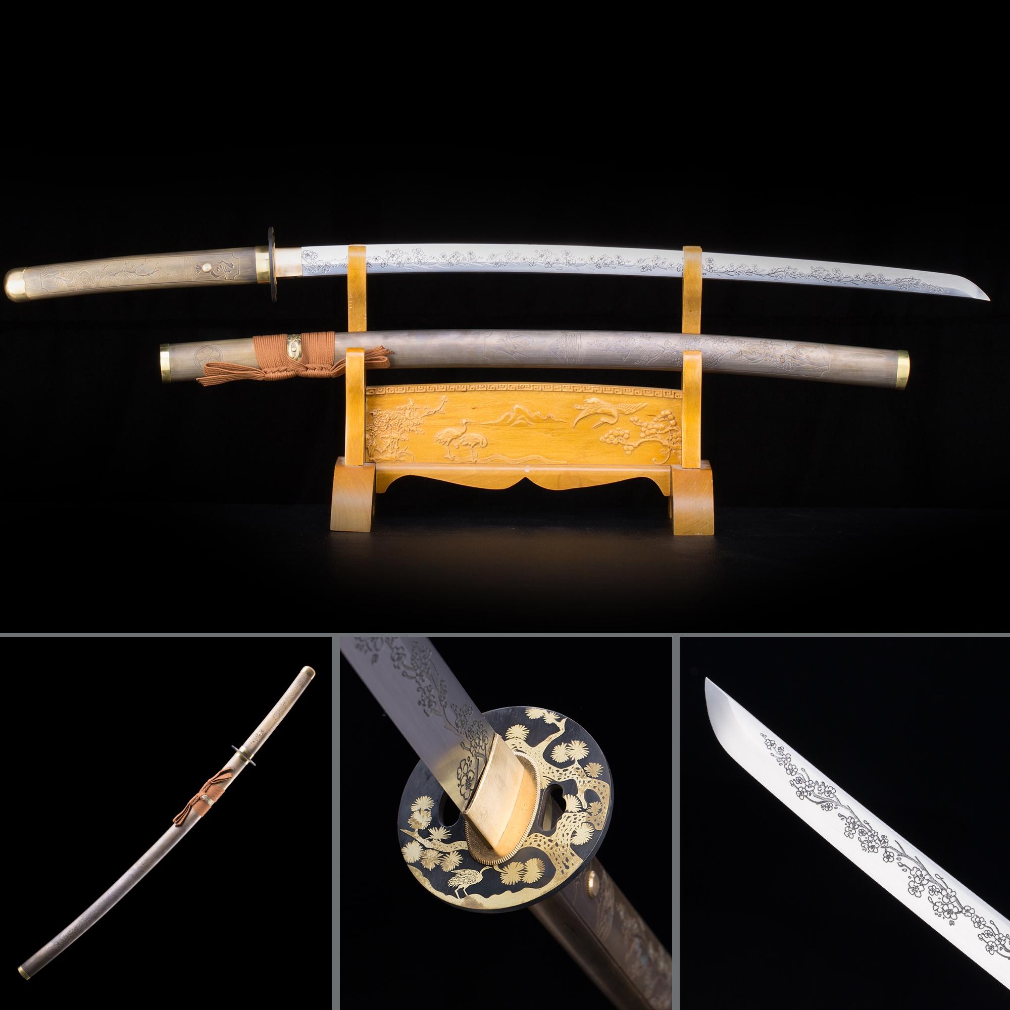 Handmade High Manganese Steel Bronze Saya And Flower Tsuba Real Japanese Katana Samurai Swords