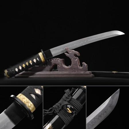 Black Ninja Theme Handmade Carbon Steel Real Japanese Samurai Sword Tanto Swords