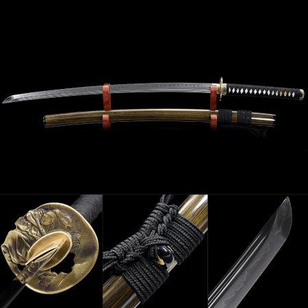 Handmade T10 Carbon Steel Musashi Tsuba Real Hamon Japanese Samurai Katana Sword With Brown Scabbard