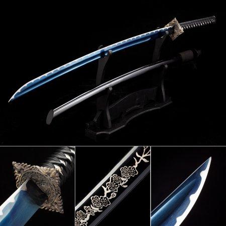 Handmade Japanese Samurai Sword High Manganese Steel With Blue Blade