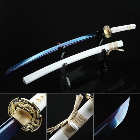 Hand Forged Full Tang Blue Blade Dragon Tsuba Real White Katana Samurai Swords