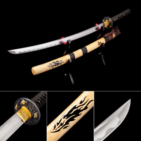 Handmade High Manganese Real Japanese Katana Samurai Swords With Natural Scabbard