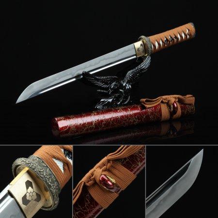 Handmade T10 Carbon Steel Real Hamon Sharpening Japanese Hamidashi Tanto Swords