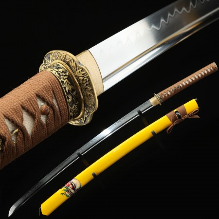 Handmade Gold Skull Tsuba Real Katana Japanese Samurai Swords