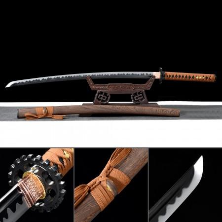 Handmade High Manganese Steel Sharpened Real Japanese Katana Samurai Swords With Brown Scabbard