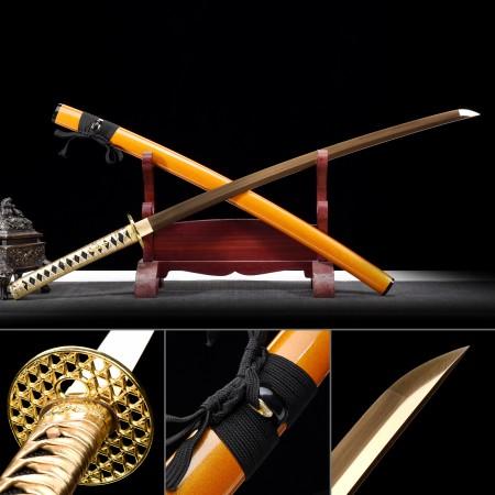 Handmade Japanese Katana Sword 1045 Carbon Steel With Golden Blade And Orange Scabbard
