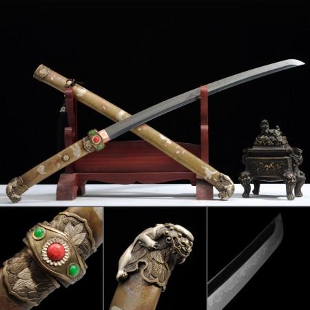Copper Chinese Lion Theme Colorful Stone Tsuba Japanese Samurai Swords Katana