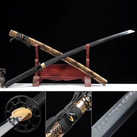 Hand Forged Katana, Real Hamon Katana Sword T10 Folded Clay Tempered Steel With Python Scabbard