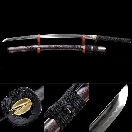 Handmade T10 Carbon Steel Real Hamon Sharpening Japanese Samurai Katana Sword With Brown Scabbard