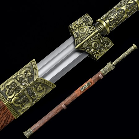Handmade Spring Steel Real Chinese Han Dynasty Sword With Rosewood Scabbard
