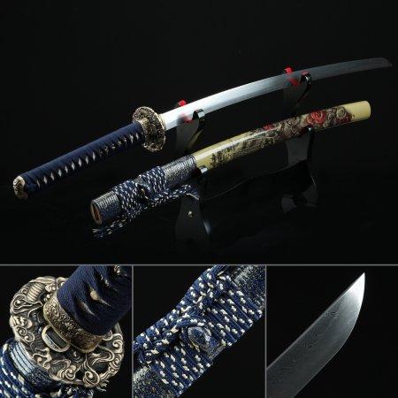 Handmade Spring Steel Sharpening Authentic Japanese Katana Samurai Sword With Brown Scabbard