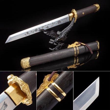 Handmade High Manganese Steel Sharpening Japanese Hamidashi Tanto Sword With Brown Scabbard