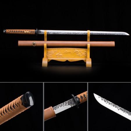 Handmade High Manganese Steel Orange Saya Full Tang Real Japanese Ninjato Ninja Swords
