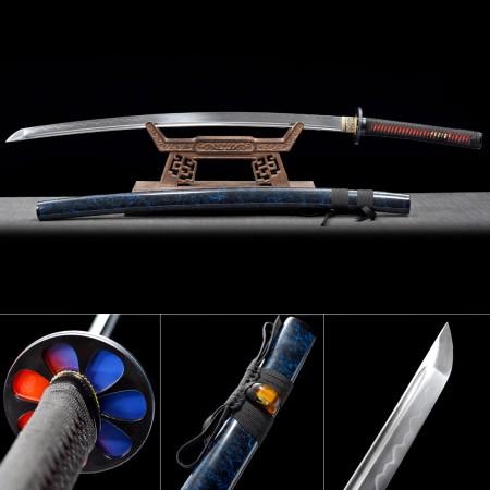 Handmade T10 Carbon Steel Blue Saya And Round Tsuba Real Hamon Katana Samurai Swords