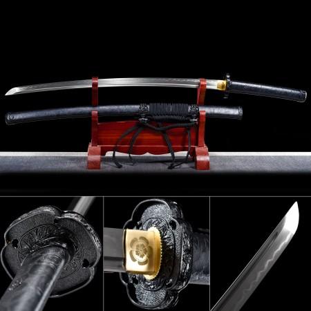 Handmade High Manganese Steel Full Tang Real Hamon Japanese Katana Samurail Swords