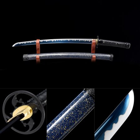 Handmade High Manganese Steel Blue Blade Real Japanese Wakizashi Sword With Multi-colored Scabbard