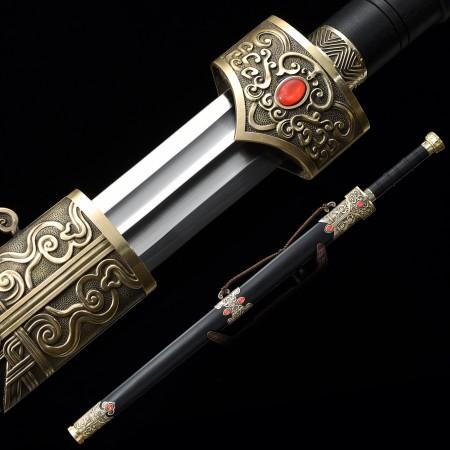 Handmade High Manganese Steel Chinese Han Dynasty Sword With Ebony Scabbard