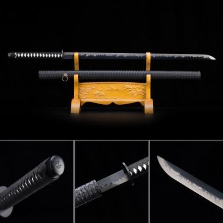 Handmade High Manganese Steel Black Blade Full Tang Real Japanese Ninjato Ninja Swords