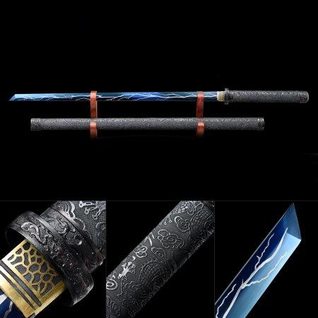 Handmade High Manganese Steel Blue Blade And  Lightning Theme Full Tang Japanese Ninjato Ninja Sword