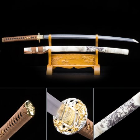 Handmade Japanese Samurai Sword T10 Folded Clay Tempered Steel With White Scabbard