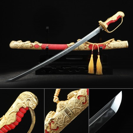 High-performance 1000 Layer Folded Steel Real Hamon Japanese Katana Sword With Red Scabbard