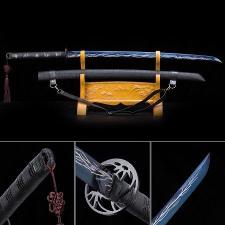 Handmade High Manganese Steel Blue Blade Japanese Katana Swords With Black Strap