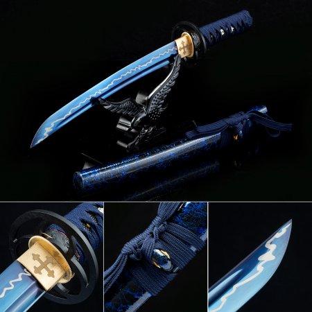 Handmade High Manganese Steel Blue Blade Short Katana Japanese Tanto Swords With Blue Scabbard
