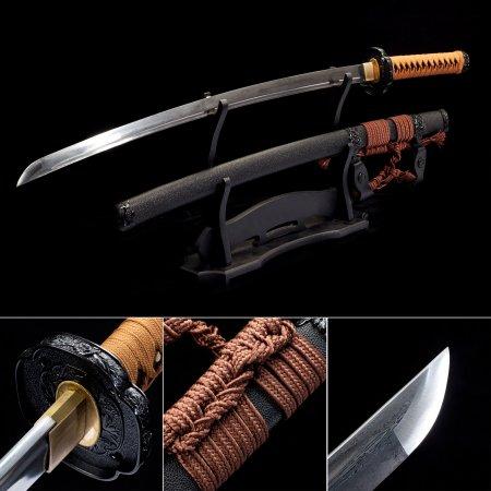 Handmade Pattern Steel Sharpening Blade Japanese Katana Samurai Swords With Black Scabbard