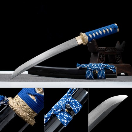 Handmade 1000 Layer Folded Steel Real Japanese Tanto Sword With Black Scabbard