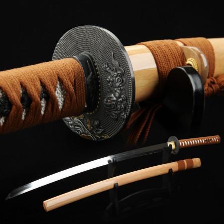 Kirin Peony Style Tsuba Handmade Real Katana Japanese Samurai Swords With Natural Wood Scabbard