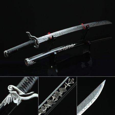 Japanese Samurai Sword High Manganese Steel With Black Scabbard