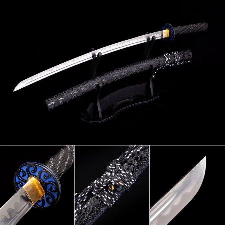 Handmade High Manganese Steel Real Japanese Katana Samurai Swords With Leather Scabbard