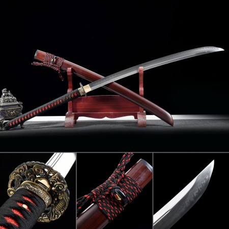 High-performance T10 Carbon Steel Real Hamon Japanese Naginata Samurai Sword With Red Scabbard